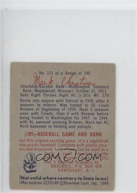 1949 Bowman #121 - Mark Christman RC (Rookie Card) - Courtesy of CheckOutMyCards.com